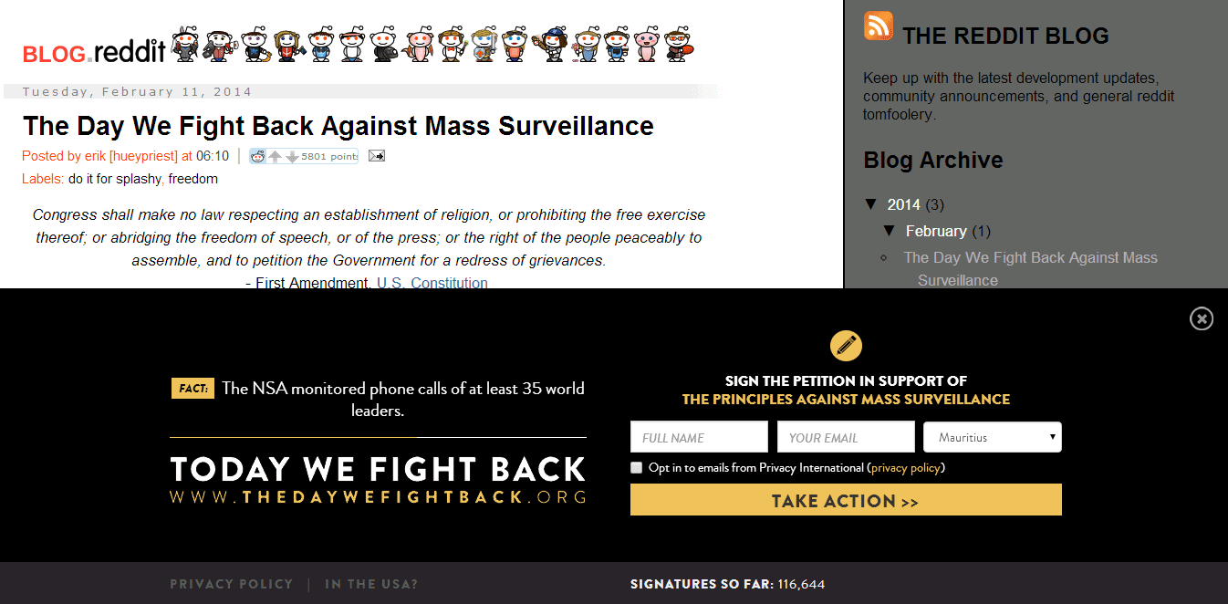 The Day We Fight Back: When companies get together to fight the NSA!