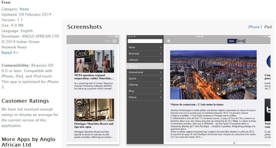 L'app Ipad d'ION News disponible
