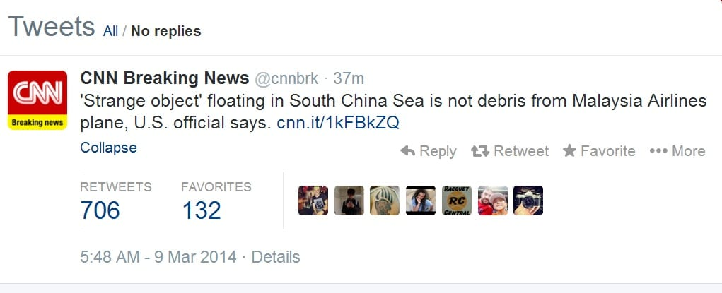 tweet CNN malaysian airlines
