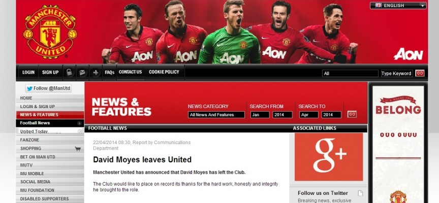 Manchester United : C'est officiel, David Moyes prend la porte