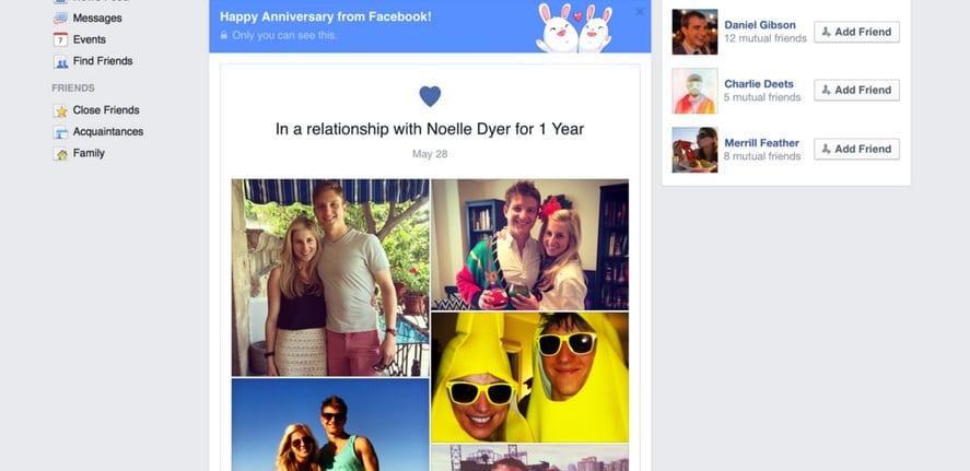 En couple ? Vous pouvez désormais célébrer votre anniversaire sur Facebook