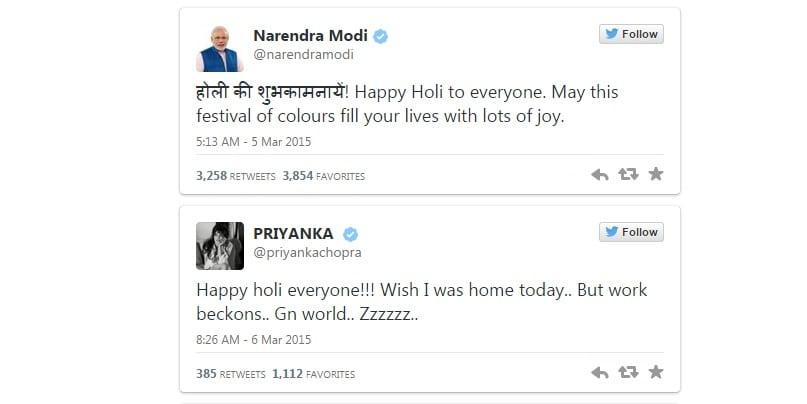 Holi twitter Modi et Priyanka Chopra