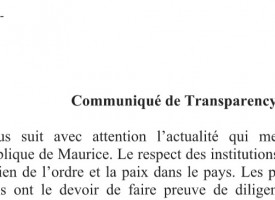 Transparency Mauritius répète «son attachement au strict respect de l'état de droit»
