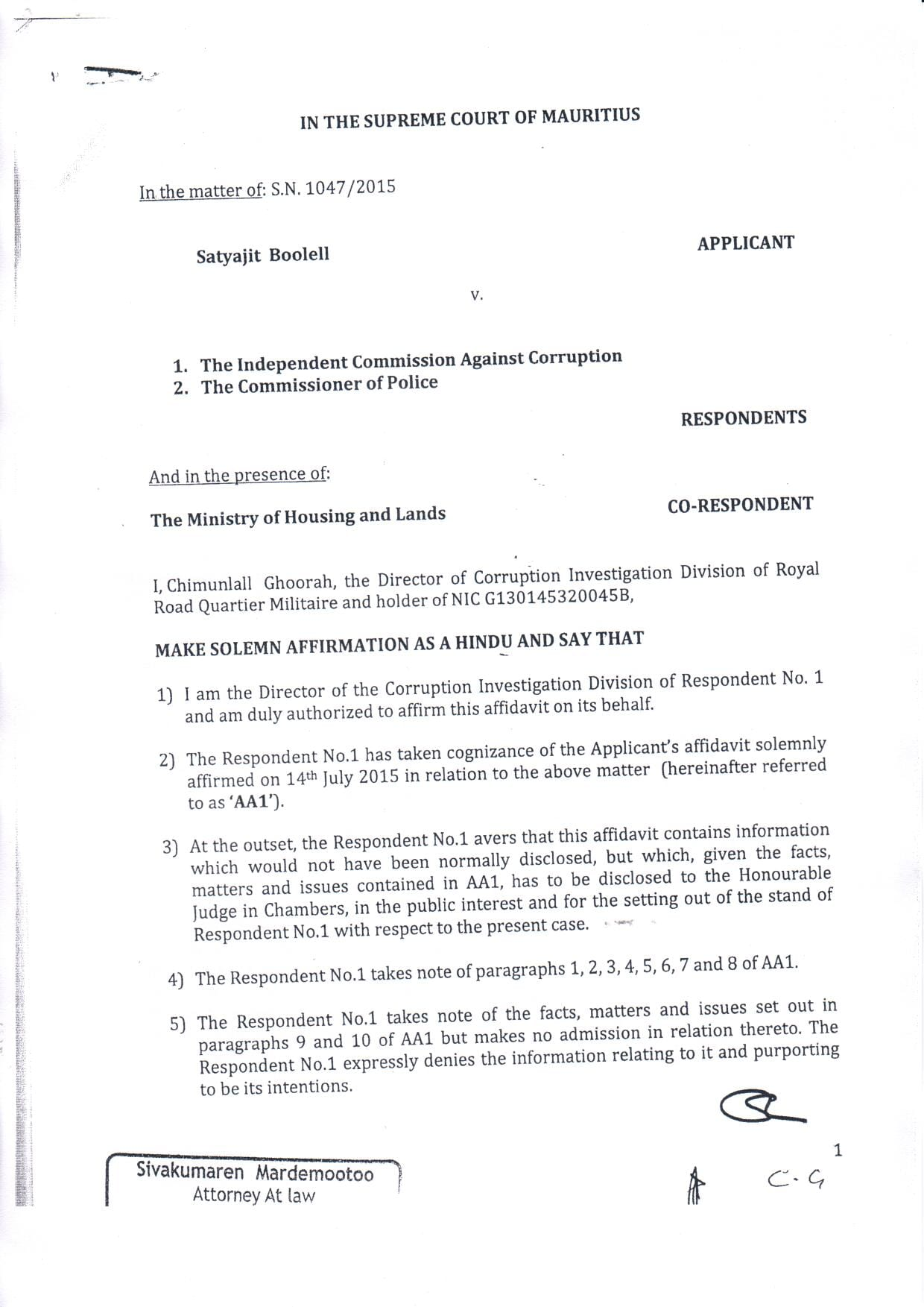 affidavit ICAC boolell 01