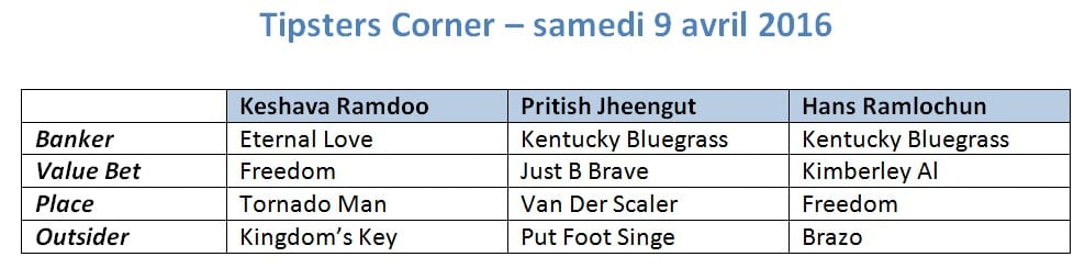 tipsters corner 8 avril 2016