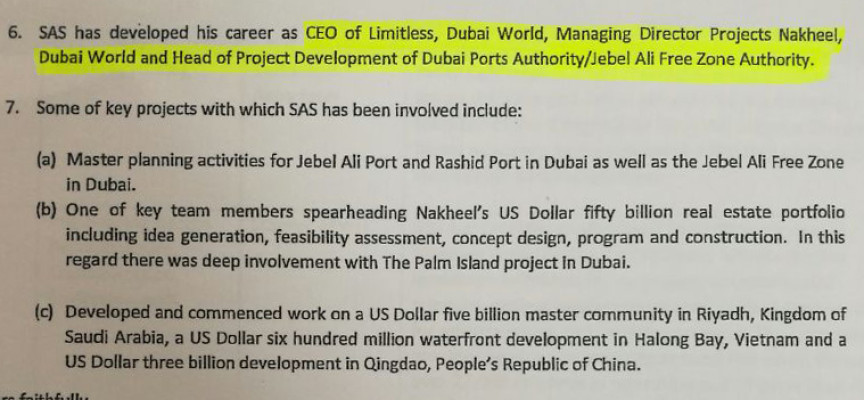 [Document] Quand Saeed Ahmed Saeed avait un «substantial track record» sur des projets chiffrés en milliards de dollars
