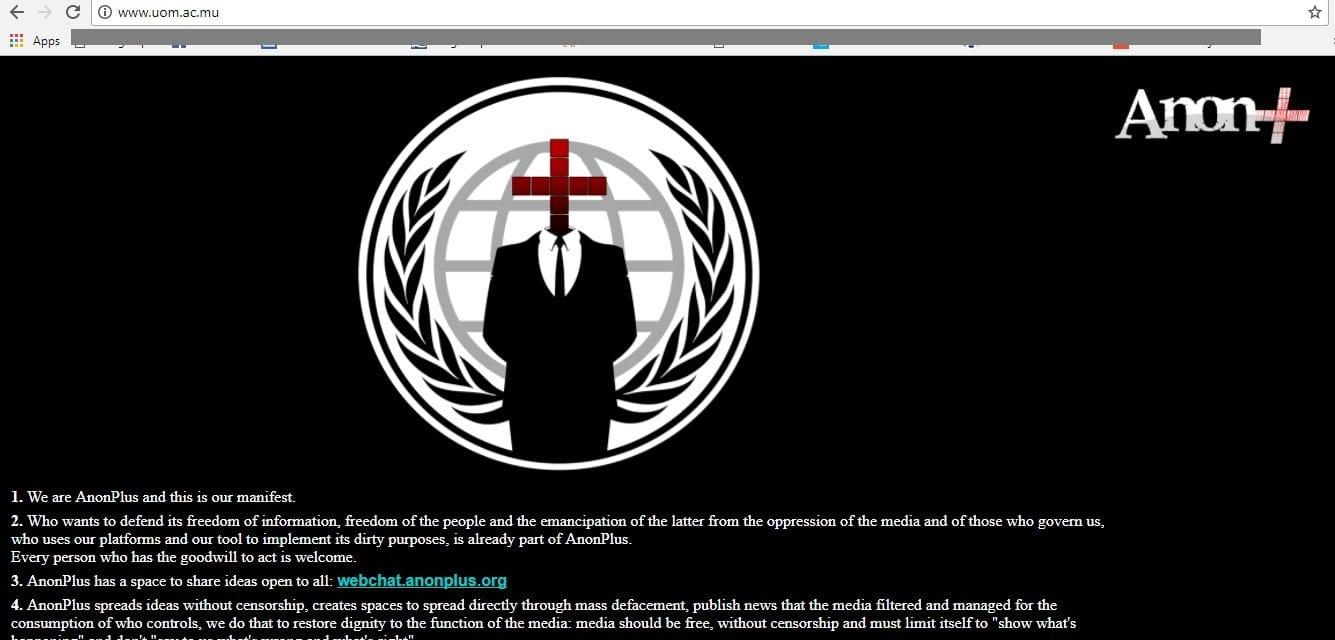 Le site Web de l'UoM piraté