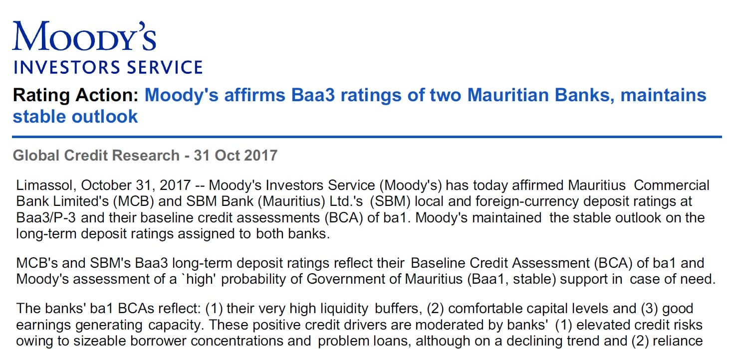 [Document] Moody's accorde la notation Baa3 à la MCB et à la SBM