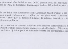 [Document] Ameenah Gurib-Fakim «rejette toute perspective de démission»