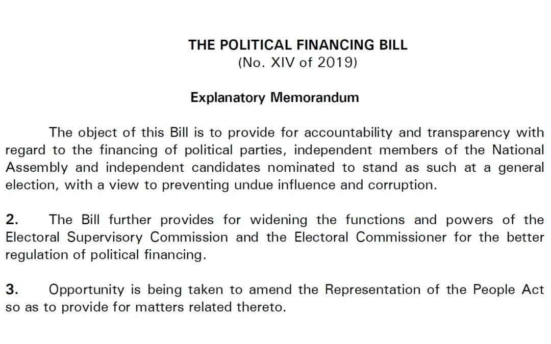 [Document] Les principales règles du projet de loi sur le financement des partis politiques