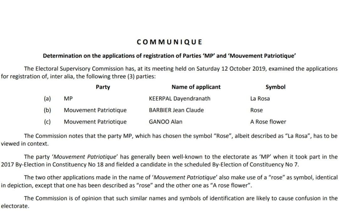 [Document] L'ESC explique pourquoi l'utilisation du nom Mouvement Patriotique a été refusée pour les législatives
