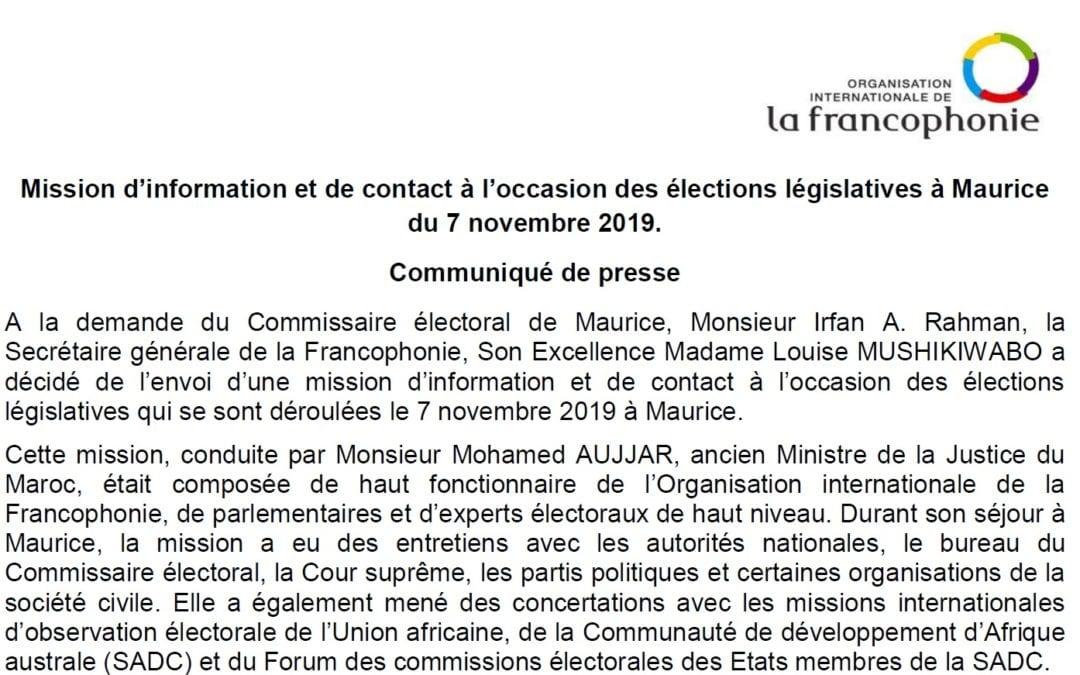 [Document] La Francophonie salue le «calme et la sérénité» des législatives à Maurice