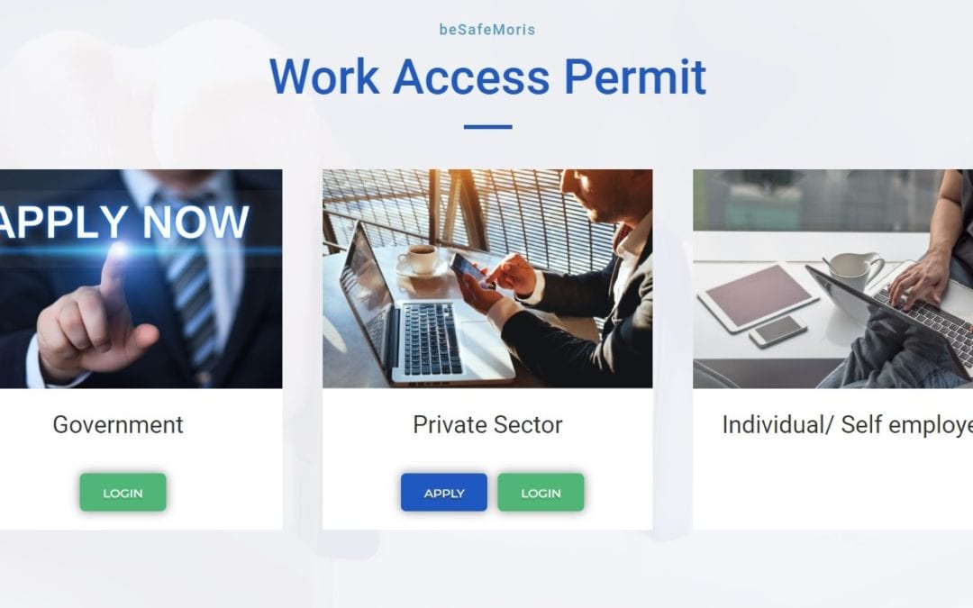Work Access Permit : Comment s'enregistrer sur le site BeSafeMoris