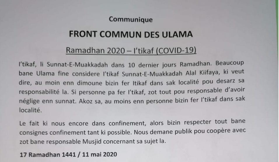 Covid-19: Le Front commun des ulémas invitent au respect du couvre-feu sanitaire
