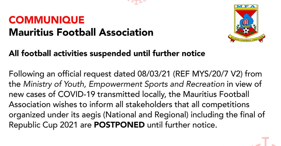 Cas locaux de Covid-19 : La MFA suspend toutes les compétitions de football