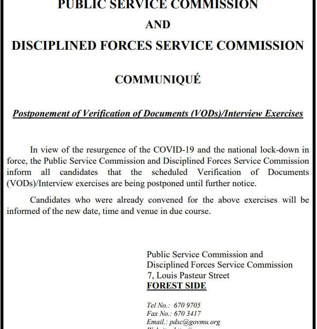 PSC et DFSC : Ajournement des interviews
