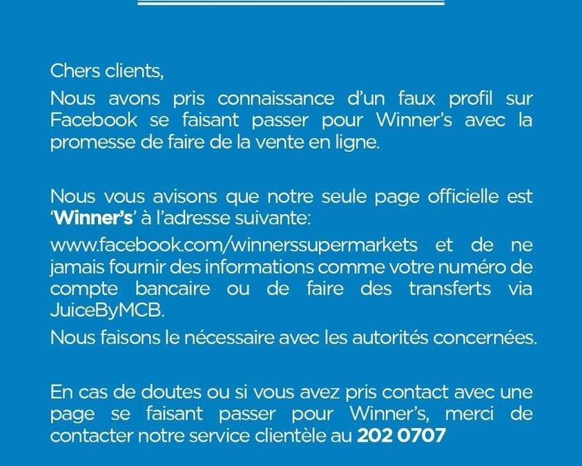 Faux profils de Winner's : Attention à l'arnaque