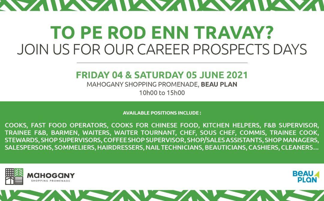 Mahogany Shopping Promenade organise deux journées de recrutement les 4 et 5 juin