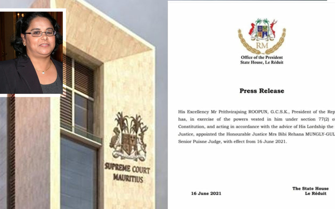 Rehana Mungly-Gulbul nommée Senior Puisne Judge