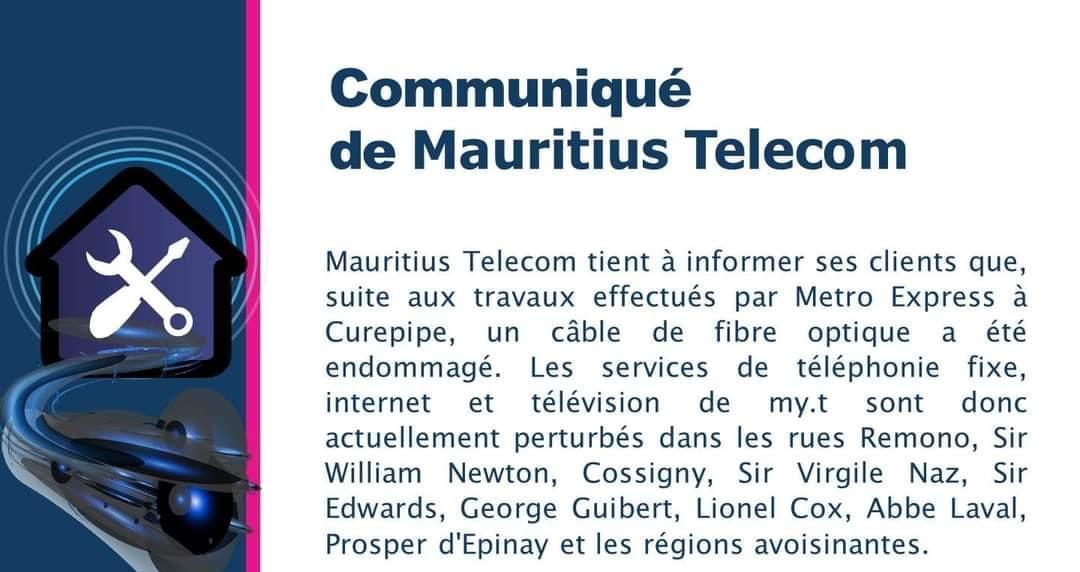 Mauritius Telecom : Des services perturbés à cause d'un câble optique endommagé