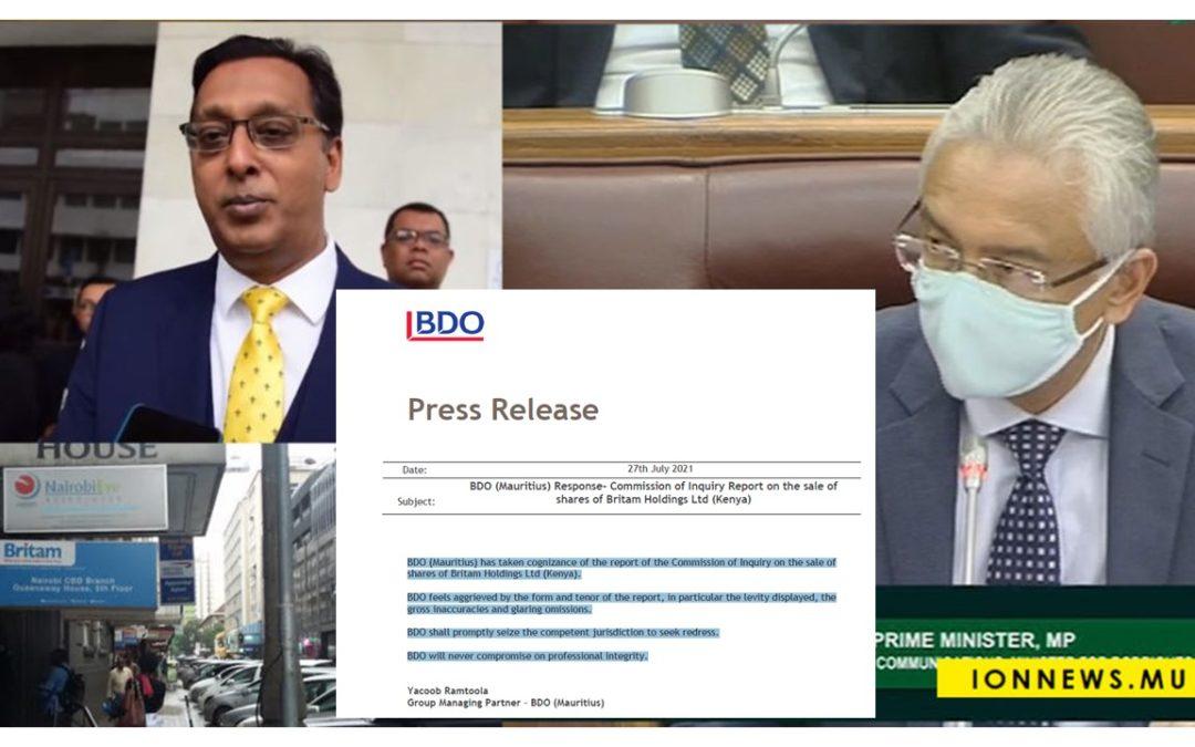 Affaire Britam : BDO par l'intermédiaire de son Managing Partner Yacoob Ramtoola, réagit