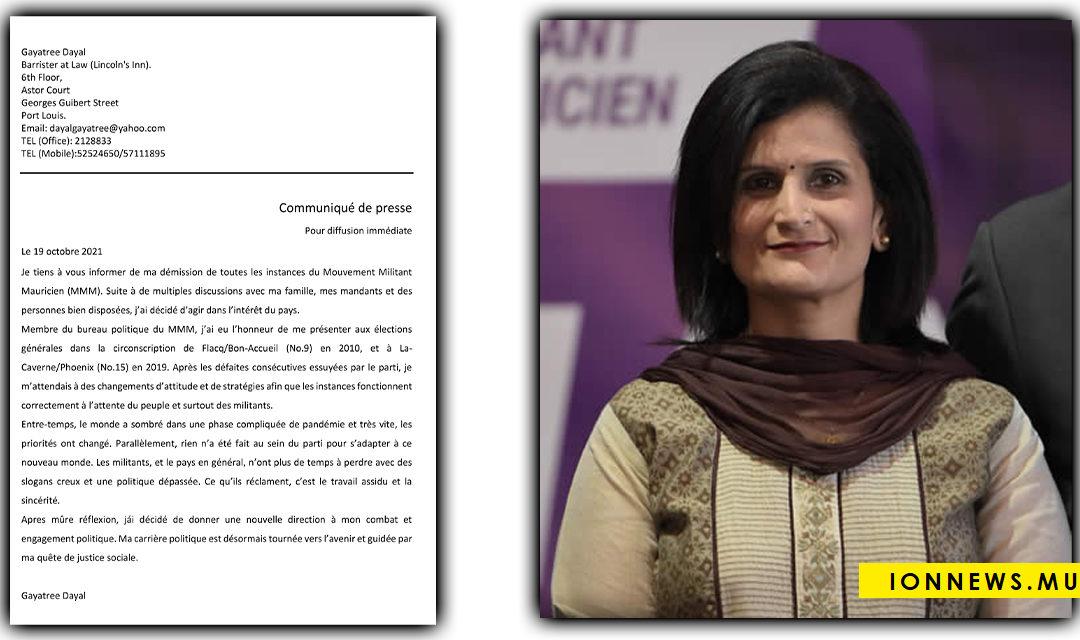 Gayatree Dayal démissionne du MMM