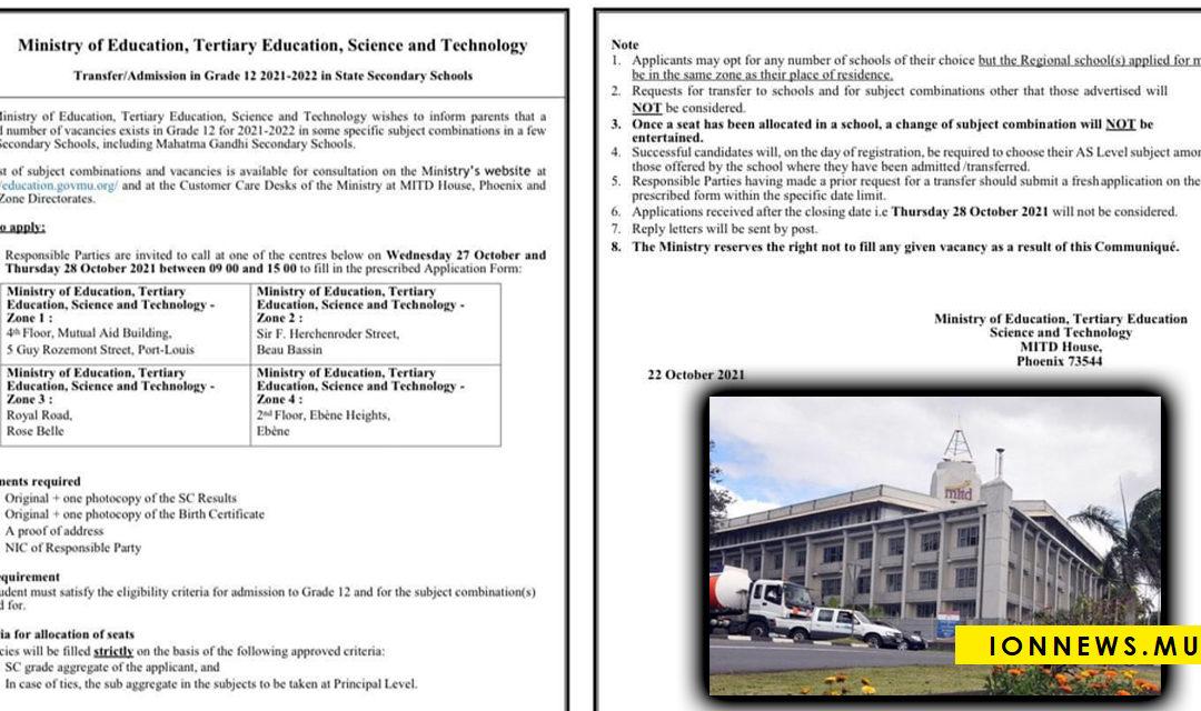 Nombre limité de places pour l'admission en Grade 12 concernant certaines combinaisons de matières