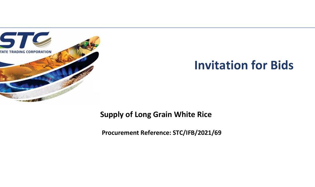 Invitation for bids : Supply of Long Grain White Rice